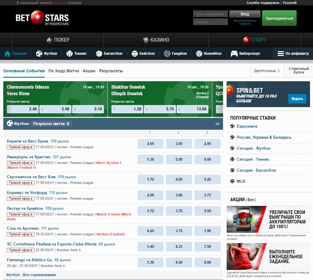Сайт букмекера BetStars